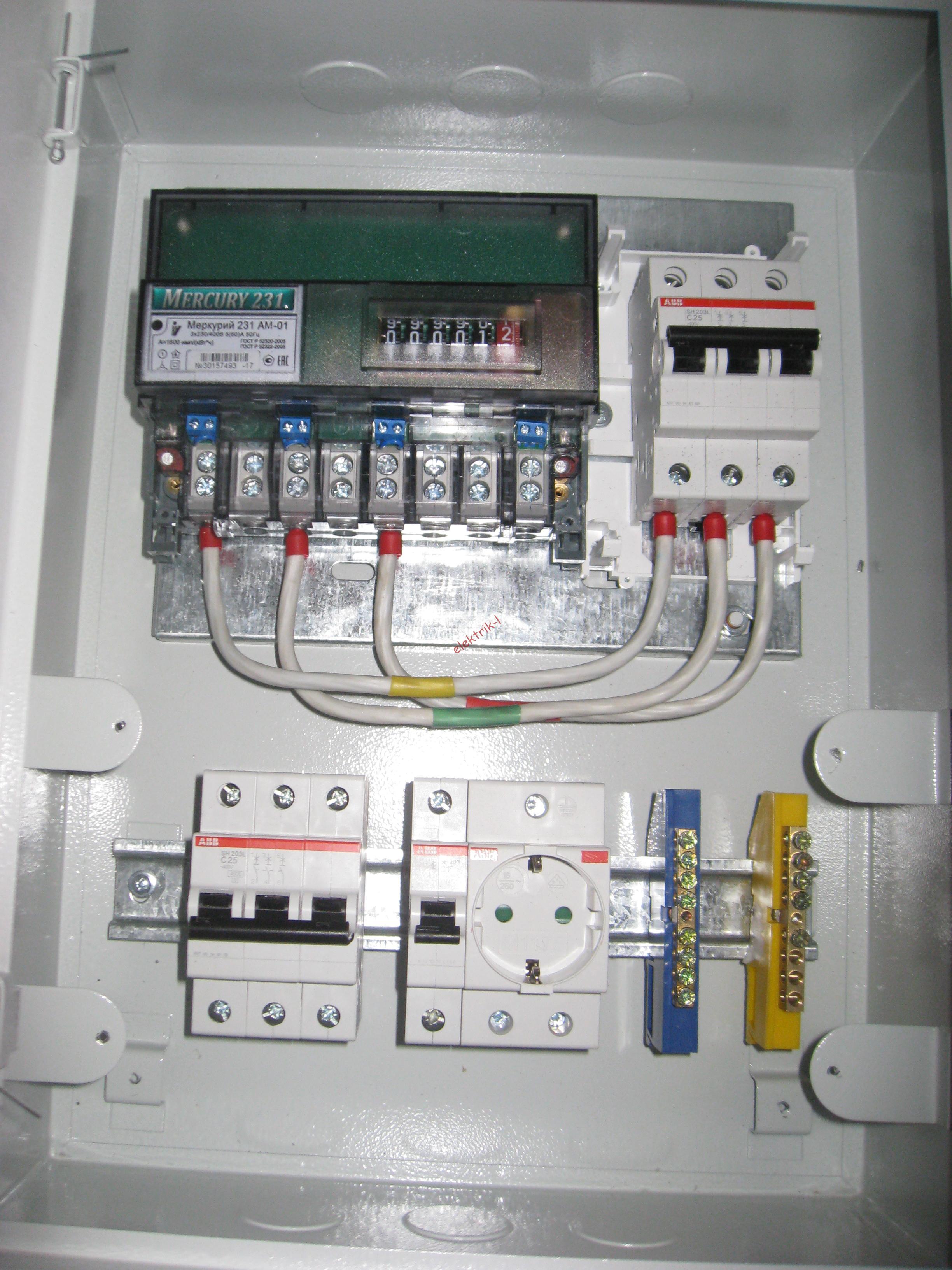 Соединение вводного автомата и счетчик